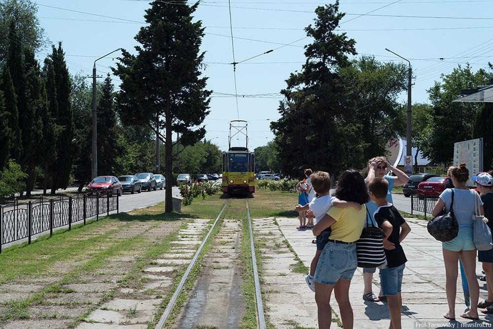 Трамвай в Евпатории, по улице Фрунзе