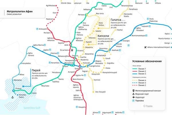 Метрополитен Афин (Схема)