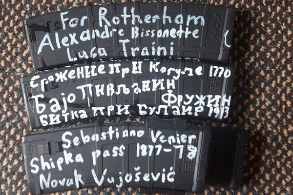 """На одном из магазинов с патронами Брентона Тарранта надпись на русском языке  """"Сражение при Кагуле 1770"""""""
