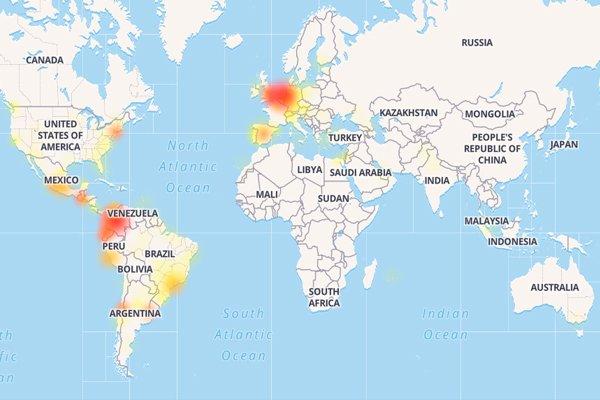 Карта с участками где пользователи испытывают проблемы с работой WhatsApp