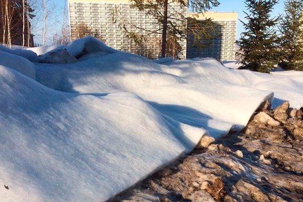 Уложенный синтепон поверх грязного снега