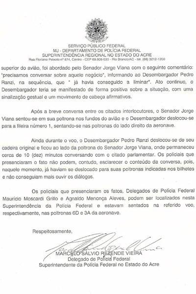 Фрагмент доноса Марсело Резенде для суда, где он докладывает о результатах слежки за заведомо невиновными гражданами.