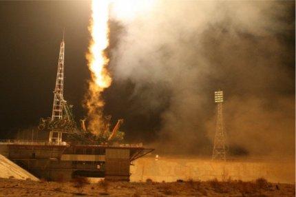 Пуск ракеты-носителя «Союз-У» с транспортным грузовым кораблем «Прогресс МС-04».