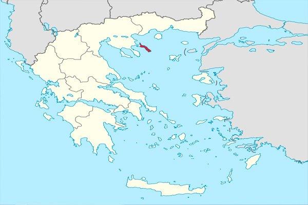 Полуостров Афон на карте Греции, отмечен красным