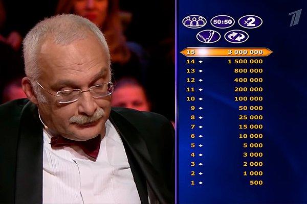 Александр Друзь на игре «Кто хочет стать миллионером?»