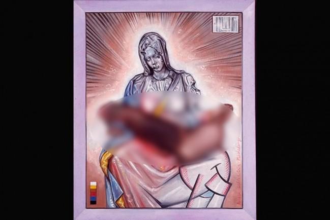 Дева Мария держит большой член вместо Иисуса Христа
