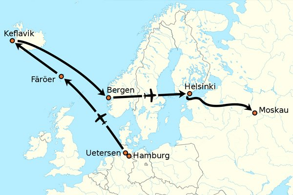 Схема полёта Матиаса Руста до Москвы
