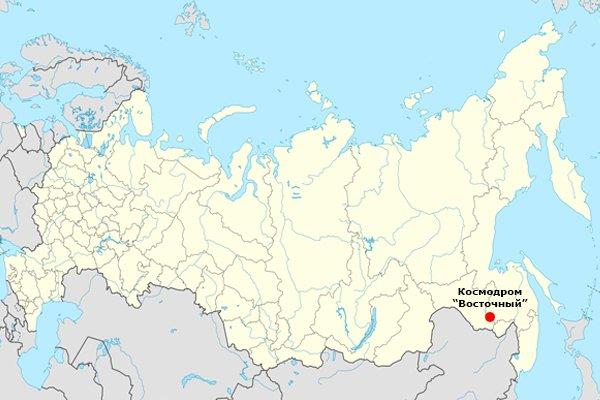 Космодром «Восточный» на карте Российской Федерации