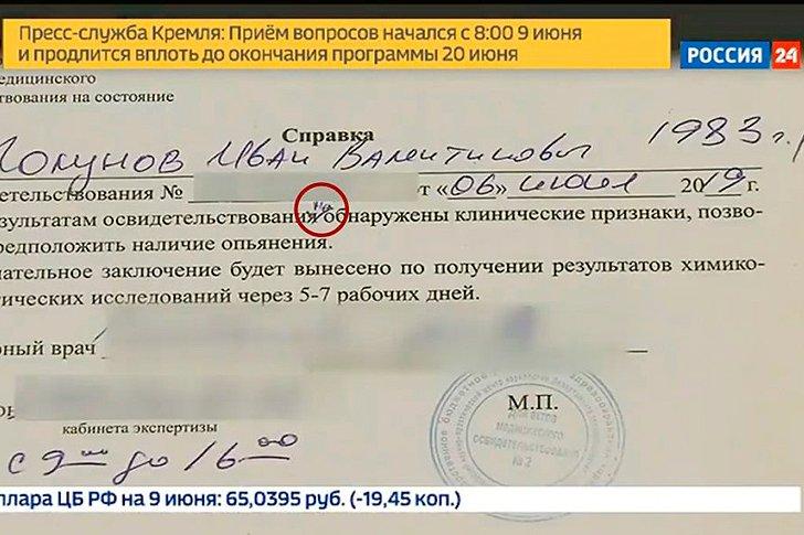 Справка выданная медиками в том, что Иван Голунов не находился в состоянии опьянения в момент задержания