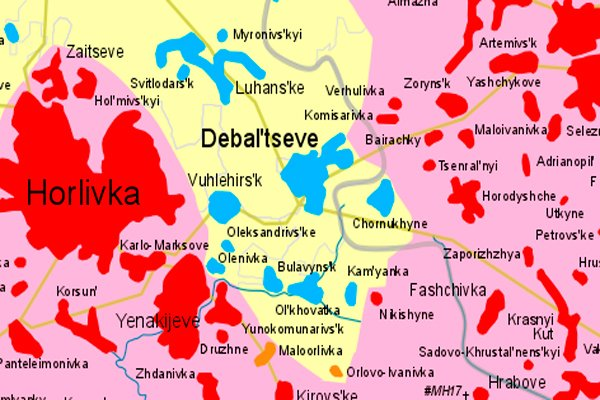 Карта территории, занятой силами ДНР и ЛНР (красные) и украинскими силами (голубые) к началу боёв