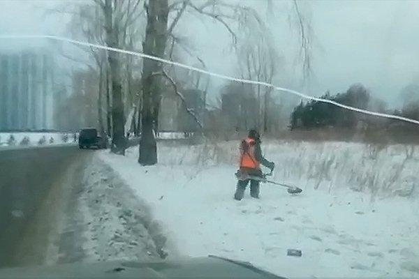 Зимний покос травы необходим для благоустройства Красноярска