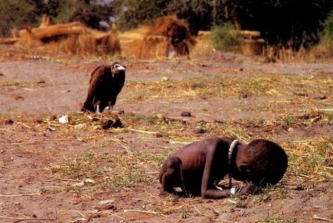 Согнувшийся суданский мальчик умирает от голода. Неподалёку находится стервятник, ожидающий добычу.