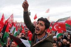 Манифестанты в Стамбуле, протестующие против признания Иерусалима столицей Израиля