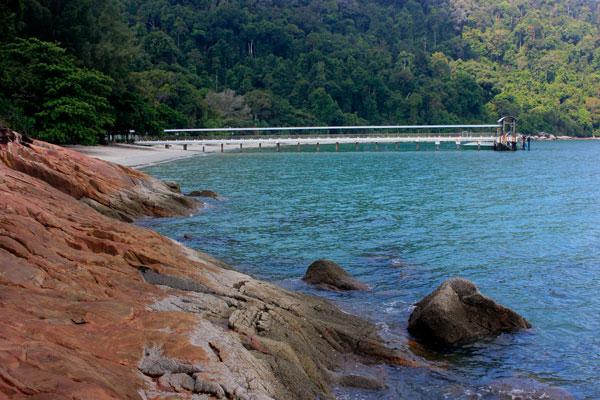 Пляж Tanjung Ailing в парке Taman Negara Pulau Pinang. Остров Пинанг (Пенанг).