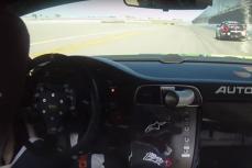 На автомобиле Porsche 997 RSR, которым управлял пилот Кори Фридман, лопнула задняя правая покрышка на скорости 290 километров в час.