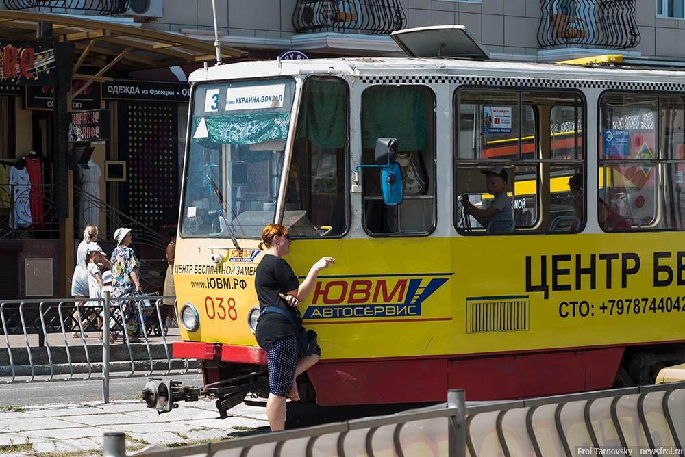 """Конечная остановка трамвая гостиница """"Украина"""" в Евпатории"""