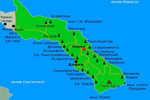 Карта полуострова Афон с нанесёнными на ней монастырями и церквями