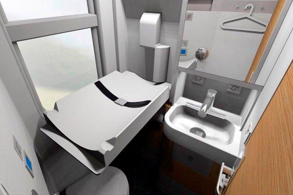 Туалетная комната в плацкартном вагоне