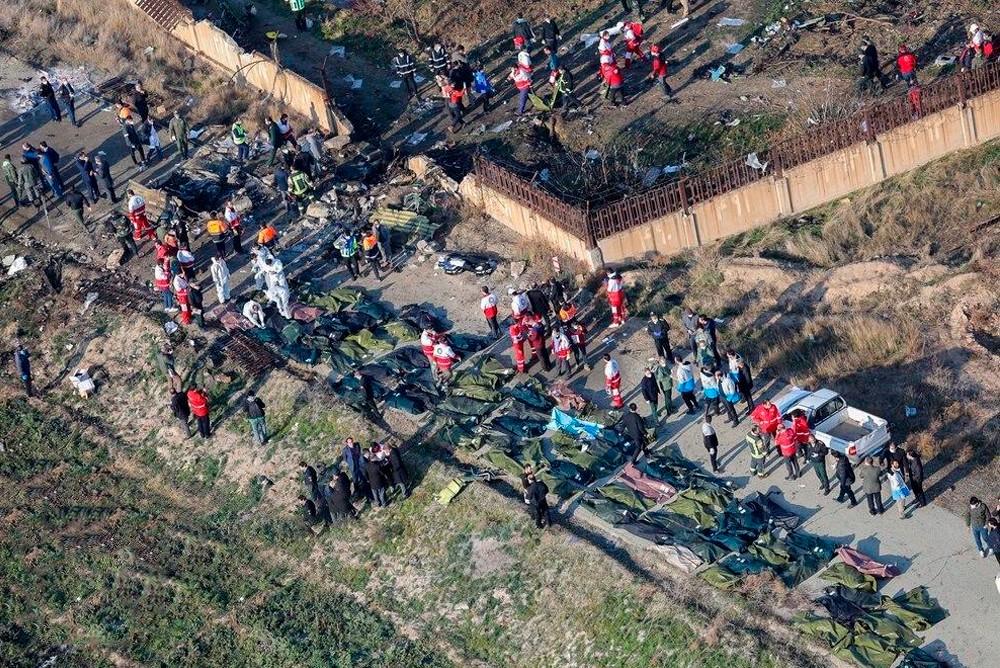 Место авиакатастрофы украинского авиалайнера под Тегераном