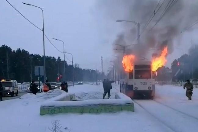 В Ангарске загорелся трамвай с пассажирами