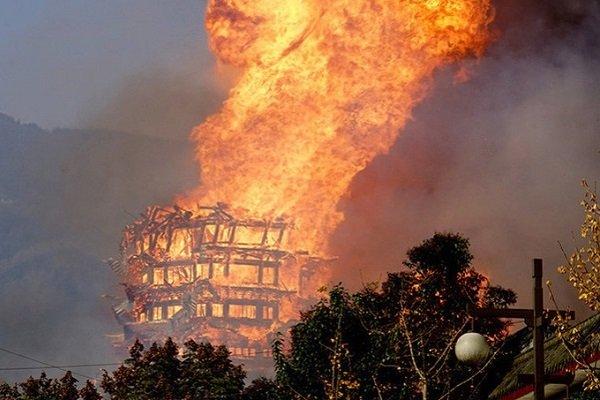 Пожар на самой высокой пагоде в Азии
