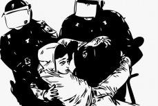 Cтолкновения протестующих с полицией.