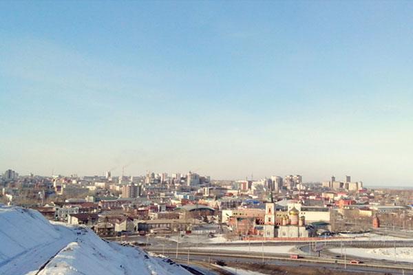 Вид на зимний Барнаул.