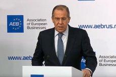Глава МИД РФ Сергей Лавров выступает на брифинге для представителей европейского бизнеса