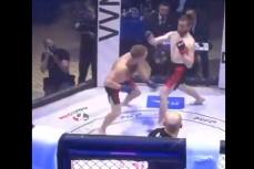 На турнире ММА бойца отправили в редкий стоячий нокаут в стиле зомби