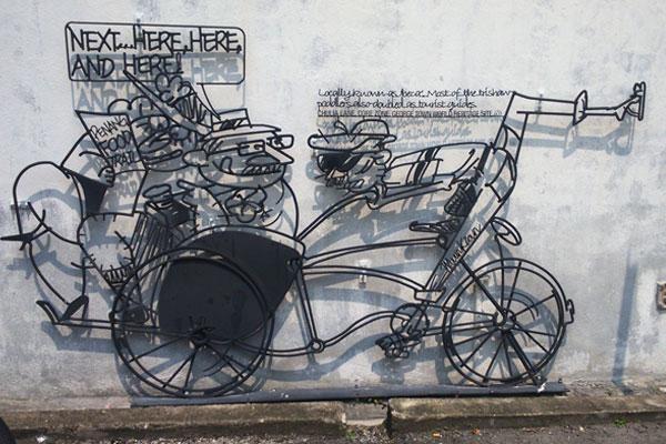 Металлические граффити в  Джорджтауне. Остров Пинанг (Пенанг), Малайзия.