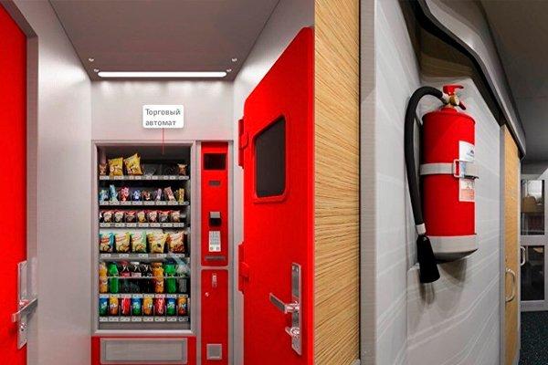 Торговые автоматы в новых плацкартных вагонах