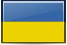 Абрис Украины на фоне государственного флага.