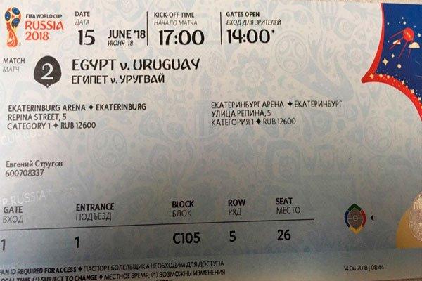 """Проданный билет на недостроенное место на стадионе """"Екатеринбург Арена"""""""