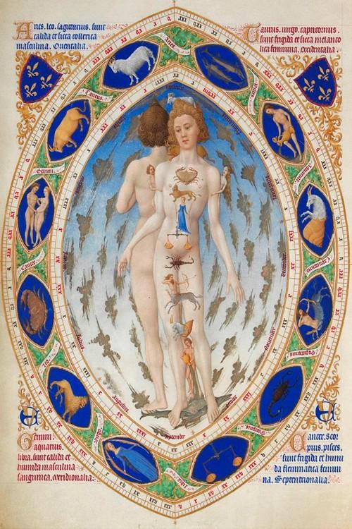 Иллюстрация из Часослова герцога Беррийского XV века, отображающая связь знаков Зодиака с Гиппократовыми темпераментами в соответствии с «горячестью-холодностью» и «влажностью-сухостью» зодиакальных созвездий.