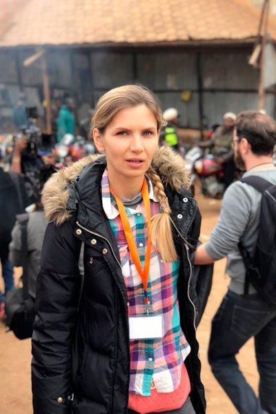 Ольга Леснова на съёмках фильма «Вид свысока»