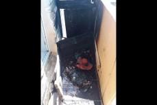 Сгоревший балкон из-за сигареты