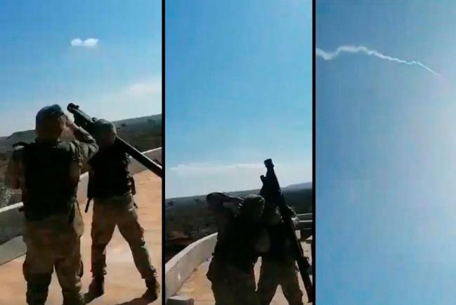 Турецкие солдаты предположительно стреляют из ПЗРК по самолету ВКС России