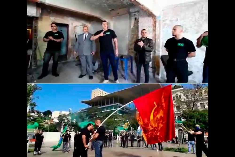Люди в черных футболках, которые сжигают флаг коммунистической партии после молитвы