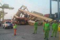 Контейнеровоз завалил портовый кран