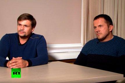 Интервью телеканалу Russia Today дают Александр Петров и Руслан Боширов