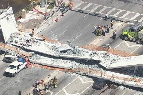 Обрушение моста в Майами