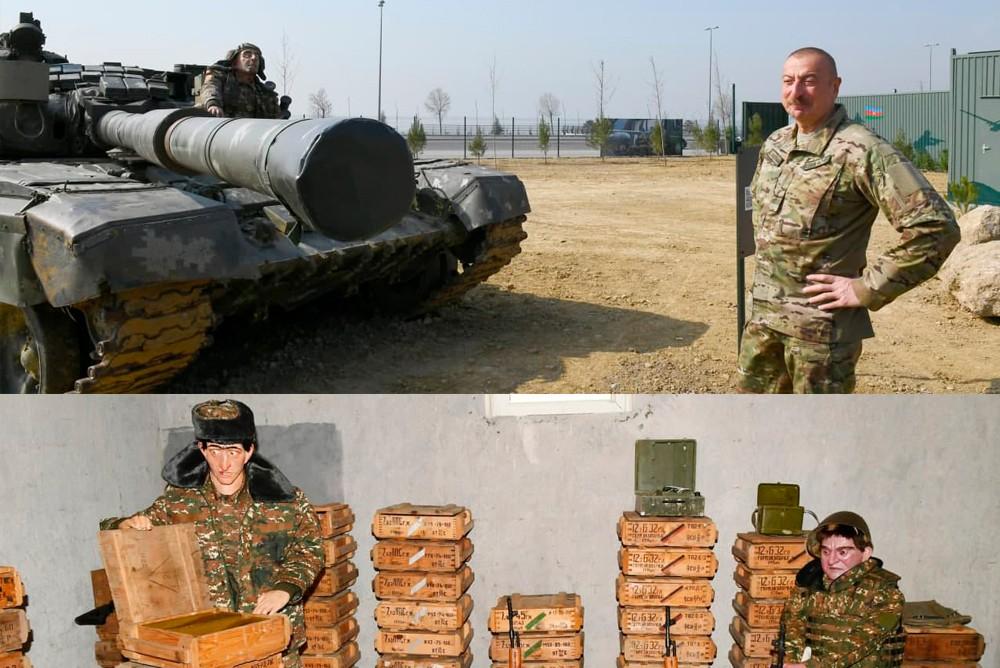 Ужасные манекены армянских солдат на танке рядом с президентом Азербайджана Алиевым