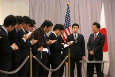 Премьер-министр Японии Синдзо Абе, встреча с журналистами, Башня Трампа, Манхэттен, 17 ноября 2016.