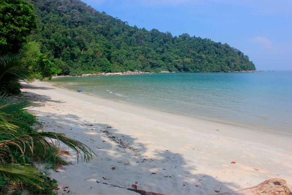 Вид на пляж Пляж Tanjung Ailing в парке Taman Negara Pulau Pinang. Остров Пинанг (Пенанг).