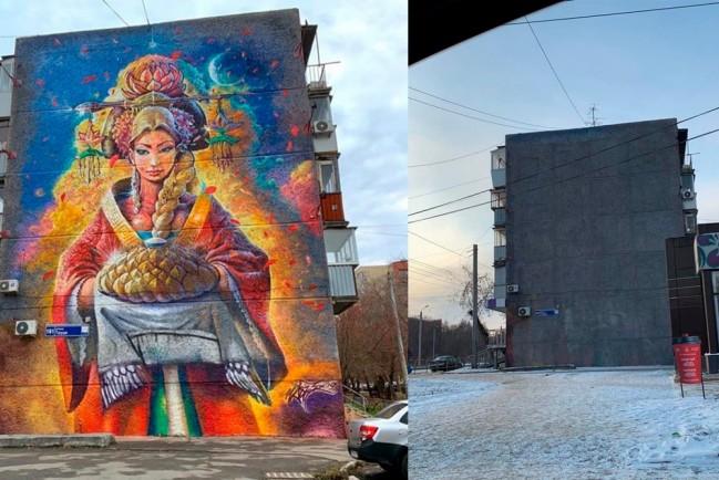 В Челябинске закрасили согласованный с чиновниками стрит-арт
