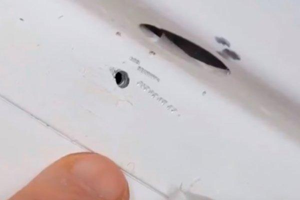 Отверстие в обшивке космического корабля «Союз» на МКС