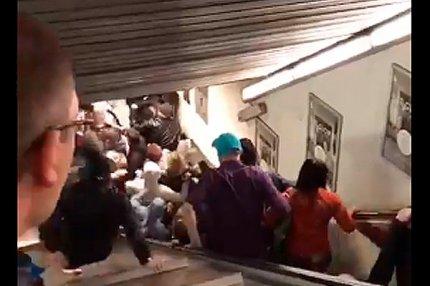 Обрушения эскалатора в римском метро под российскими болельщиками ЦСКА