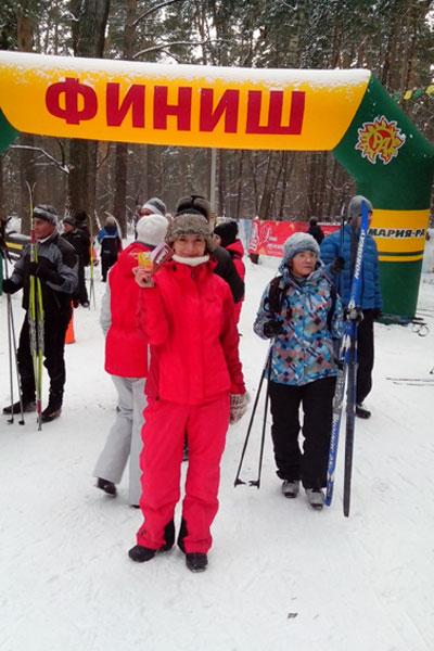 Финиш. Лыжный забег в ленточном бору. Барнаул.