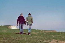 Два молодых человека гуляют взявшись за руки.