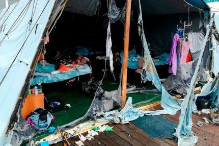 Сгоревшие палатки в детском лагере «Холдоми»